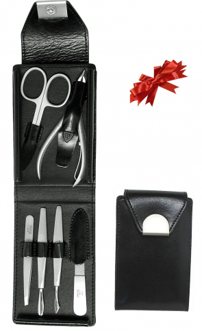Set Manicure In pelle nera piccolo con accessori in inox