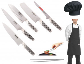 Mr. Global Five: 5 couteaux japonais Global + Chef Pincer + Tablier + Chapeau de chef