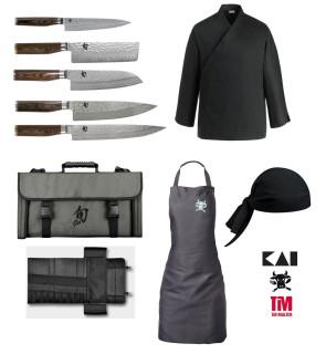 Valigetta Premier Sushi Kai: 5 coltelli Serie Shun Premier, giacca da cuoco, grembiule e bandana