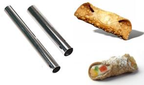 10 tubes pour pâtisseries de pâte feuilletée Diamètre de mm. 10 à mm. 25 Longueur mm. 139 en acier inox