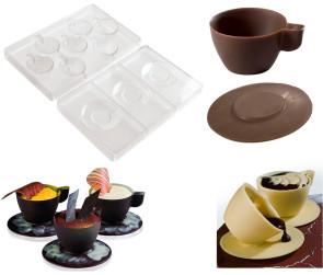 Ensemble de 2 moules en polycarbonate: tasse et soucoupe à chocolat