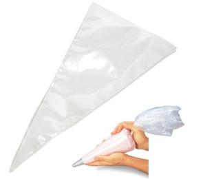 100 Sacs à poche à usage unique  pour décorer en polyéthylène Hauteur cm. 46 Longueur cm. 23