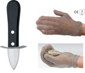 Guanto e coltello apriostriche