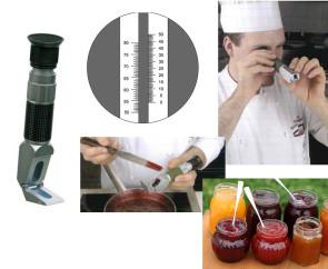 Réfractomètre professionnel pour jus et confitures échelle 0-80% Brix - échelle double 0-50 / 50-80%