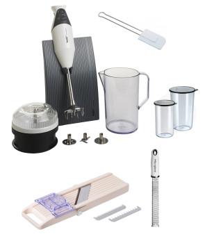Set Tout dans la cuisine: Mixer Bamix - Mandoline Super Benriner - Râpe Microplane