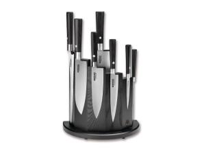 Ceppo in legno di frassino completo di 7 coltelli damascati Serie Damast Black di Böker