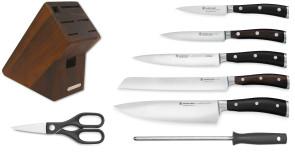 Bloc d'acacia complet avec 5 couteaux Ikon Black + accessoires Wusthof