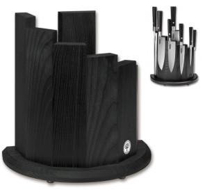 Ceppo magnetico per 7 coltelli in legno frassino nero