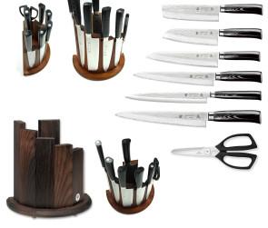 Bloc complet avec 6 couteaux japonais SAN MAI Tsubame Tamahagane et ciseaux Kai
