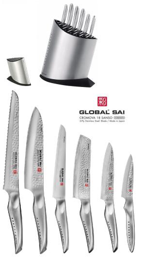 Bloc de couteaux complet avec 6 couteaux japonais Global SAI