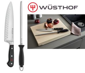 Cut & Sharp: couper et affûter - couteau de cuisinier avec alvéoles et affûteur Wusthof