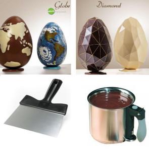 Chocolat TOP: oeufs Diamant et Globe, spatule, fondant au chocolat