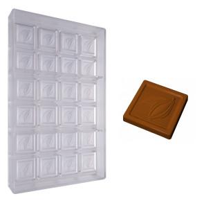 Moule en polycarbonate Carré Chocolat avec relief Cabosse 6 gr.