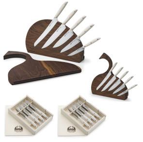 Ensemble Made in Italy: Bloc de couteaux complet + Planche à découper en bois de noyer + 8 Couteaux à steak de Due Cigni Coltellerie
