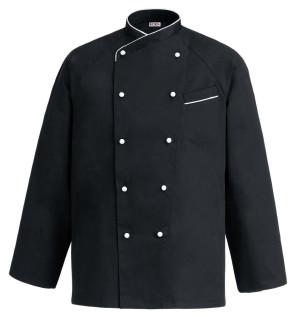 Veste de chef à manches longues noire avec boutons et bordure blanche