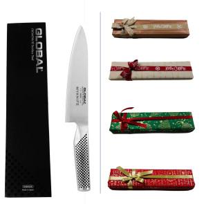 Coffret Cadeau Global Chef: Couteau de chef + Gravure laser du nom + Carte cadeau