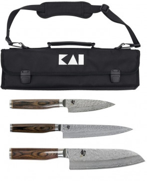 valigetta 3 coltelli damasco Kai