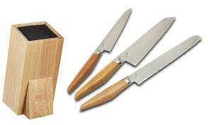 Bloc complet avec 3 couteaux japonais Kasame Sumikama