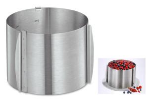 Cercle à pâtisserie, inox, réglable pour mousse ou hauts gâteaux américains