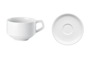 Tasse empilable pour café ou cappuccino avec soucoupe série Rotondo de Arthur Krupp