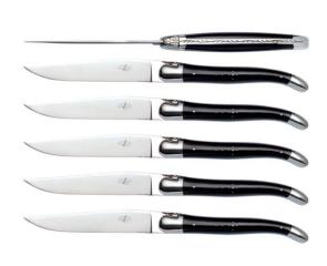 Set 6 coltelli corno nero Forge de Laguiole