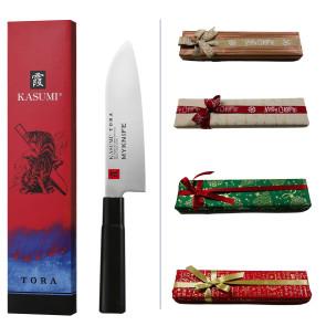 Coffret Cadeau Kasumi Santoku: Couteau Santoku série Tora + Gravure Laser Nom + Carte Cadeau