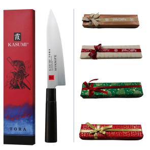 Coffret Cadeau Kasumi Chef: Couteau de chef série Tora + Gravure Laser Nom + Carte-cadeau