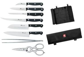 Mallette avec 6 couteaux Due Cigni, ciseaux et pinces