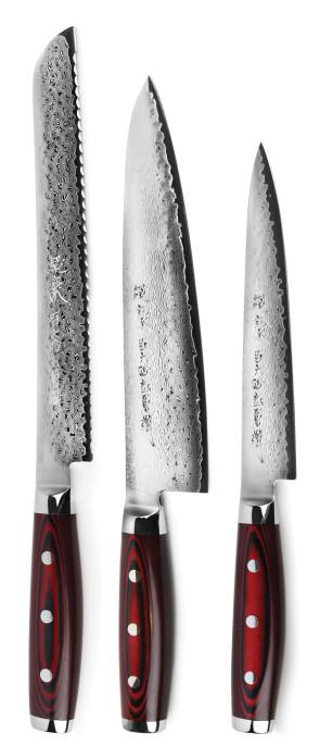 Set Super Gou 161: 3 couteaux Damas 161 couches par Yaxell