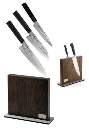 Bloc complet de 3 couteaux damassés série Kuro de Kasumi